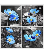 Wall Art For Living Room Black and White cyan blue flower Canvas Wall De... - $32.97