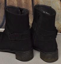 Stuart Weitzman Sz 7M Black Ankle Boots Booties Spain Low Block Heel Buckle - $69.83