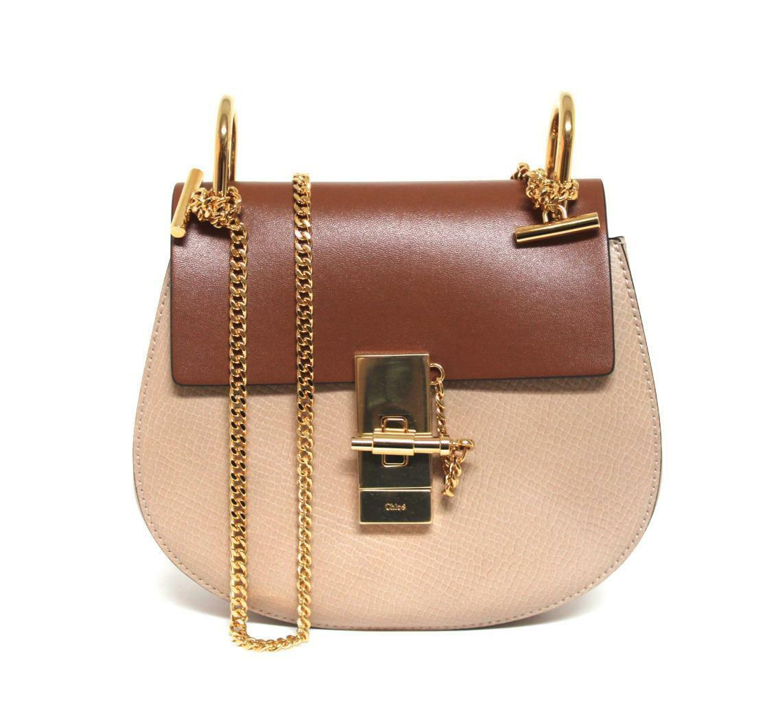New $2050 Chloe Drew Mini Color Block Leather Crossbody Bag