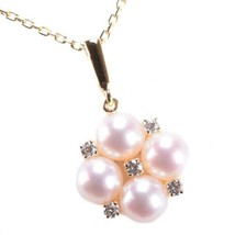 MIKIMOTO Authentic K18YG Pearl & Diamond Necklace about 35cm Used Japan - $1,148.93