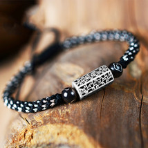 Men's Retro Six-Word Mantra Bracelet 925 Sterling Silver Charm Tibetan H... - $18.29+