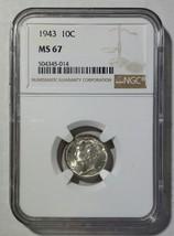1943 Mercury Silver Dime 10¢ Coin NGC MS67 - Lot# SR 1239