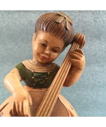 Anri Music Box Reuge Happy B'day Vintage Hand Carved Wooden Girl with Cello - $65.00