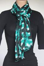 NEW Calvin Klein Black Green Rayon Women's Neck Scarf Wrap 28x76 - $14.84