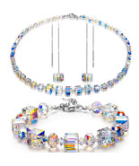 """Faceted Bead Aurora Borealis Crystal Necklace Sterling Silver 925 18"""" - $14.69"""