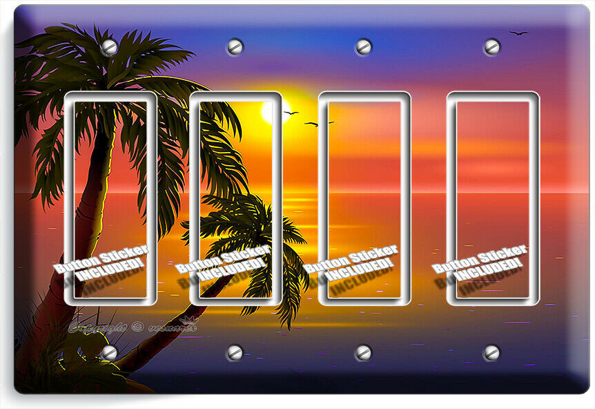 ROMANTIC SUNSET TROPICAL ISLAND PALMS 4 GFCI LIGHT SWITCH WALL PLATES ROOM DECOR
