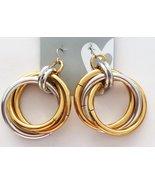 Metallic Hoop Retro Style Pierced Earrings - $6.85