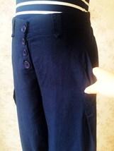 Navy Oversize Linen Pants Wide Leg Pants Ankle Length Elastic Trousers NWT image 4