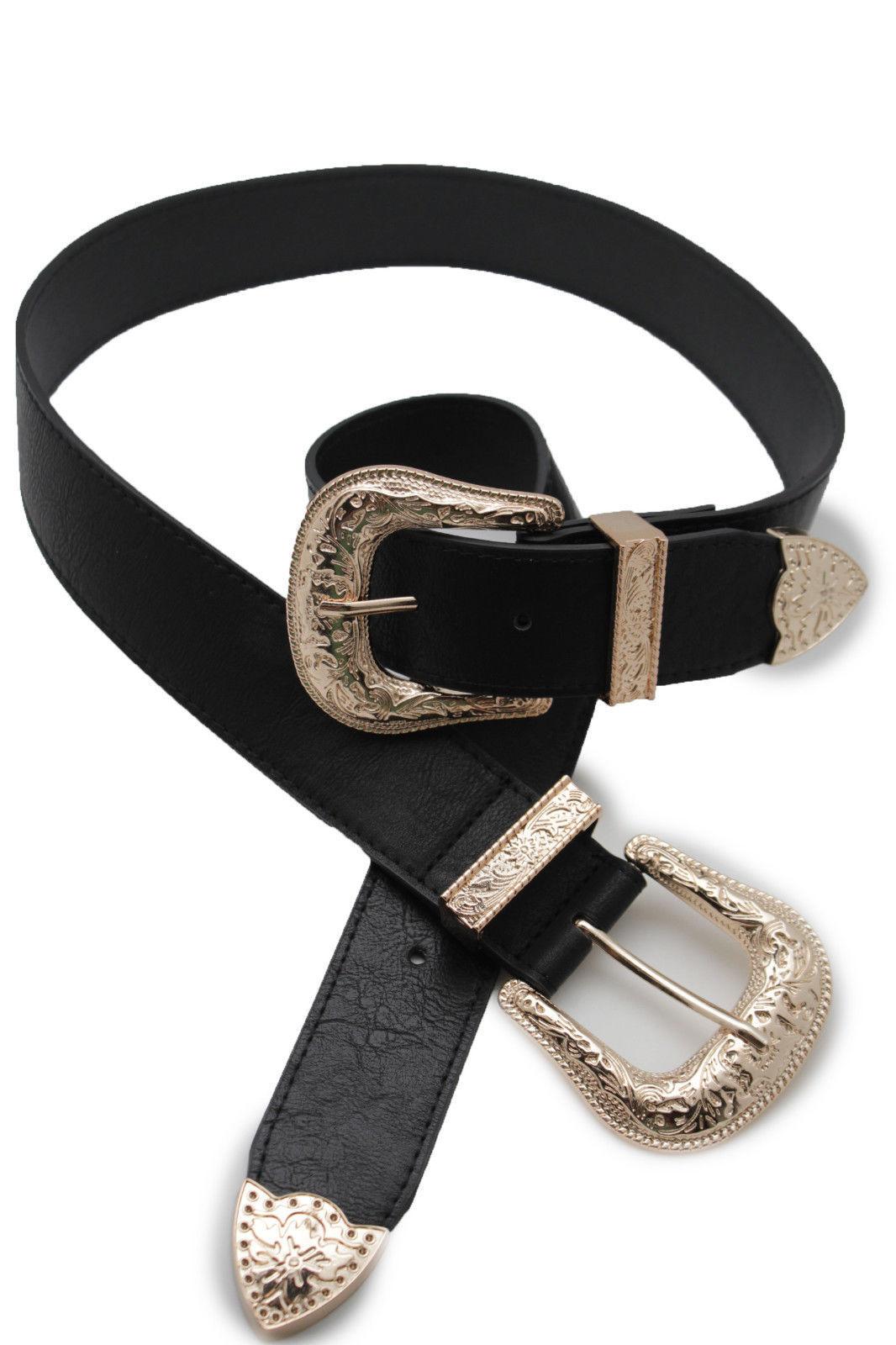 Damen West Doppel Gold Metallschnalle Jeans Mode Schwarzer Gürtel Kunstleder S M