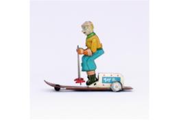 Yonezawa Toy made tinplate  skier MADE IN JAPAN Vintage Used Japan A34 - $860.79