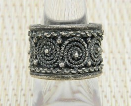 Portugal Topazio 925 Sterling Silver Swirl Design Band Ring Size 6.5 Vintage - $49.49
