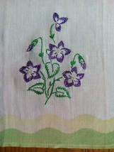 """VINTAGE 21"""" TEA TOWEL ~ HAND EMBROIDERED PURPLE FLORAL - $5.93"""