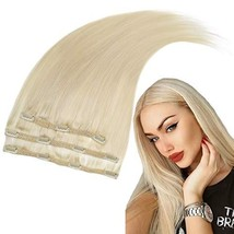 RUNATURE 12 Inches Clip in Human Hair Extensions Color 60 Plaitnum Blonde 50g 3  image 1