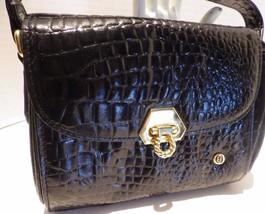 Vintage Charles Hubert Black Patent Moc Croc Handbag - $19.79