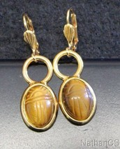 1950 Period Vintage Tiger Eye Scarab Gold Filled Earrings Unusual & Char... - $64.35