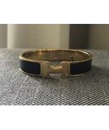 Authentic Hermes 2015 Black Enamel Gold H Clic-Clac Bracelet PM - $288.00