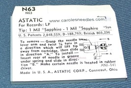 PHONOGRAPH NEEDLE STYLUS for Astatic N63 for Astatic 219 233 Astatic 237 253 164 image 2