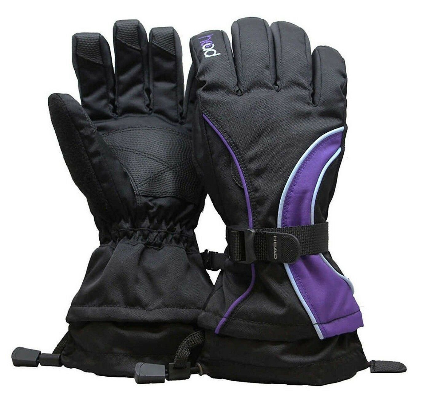 Head Junior Jr Black Purple Blue Insulated Ski Snowboard Winter Gloves M/6-10