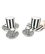 Pleasant Company American Girl Vtg Cafe Tea Set Black & White Stripes 8p... - $76.44