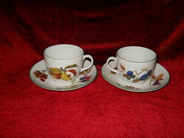 Royal Worcester Evesham Vale set of 2 cups and saucer - $9.89