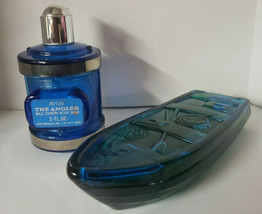 Vintage Avon Tai Winds After Shave Gone Fishing Blue Glass Boat & Reel Angler - $24.99