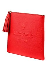 Kate Spade Larchmont Avenue Logo Gia Beauty Cosmetic Bag Hot Chili Red - $88.11