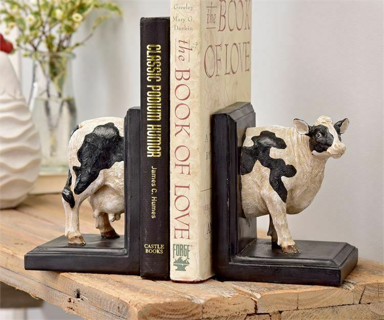 """5.4"""" Two Halves of a Black & White Standing Cow Bookends Polystone"""