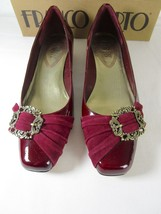 Franco Sarto Maroon Patent Leather pumps 8.5 M Suede Detail Gold Tone Ac... - $20.90