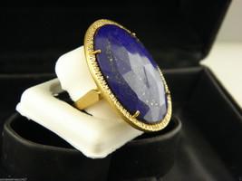 Impresionante Lapis & Diamantes Grande Anillo en Sólido 18k Oro Amarillo - $1,409.28