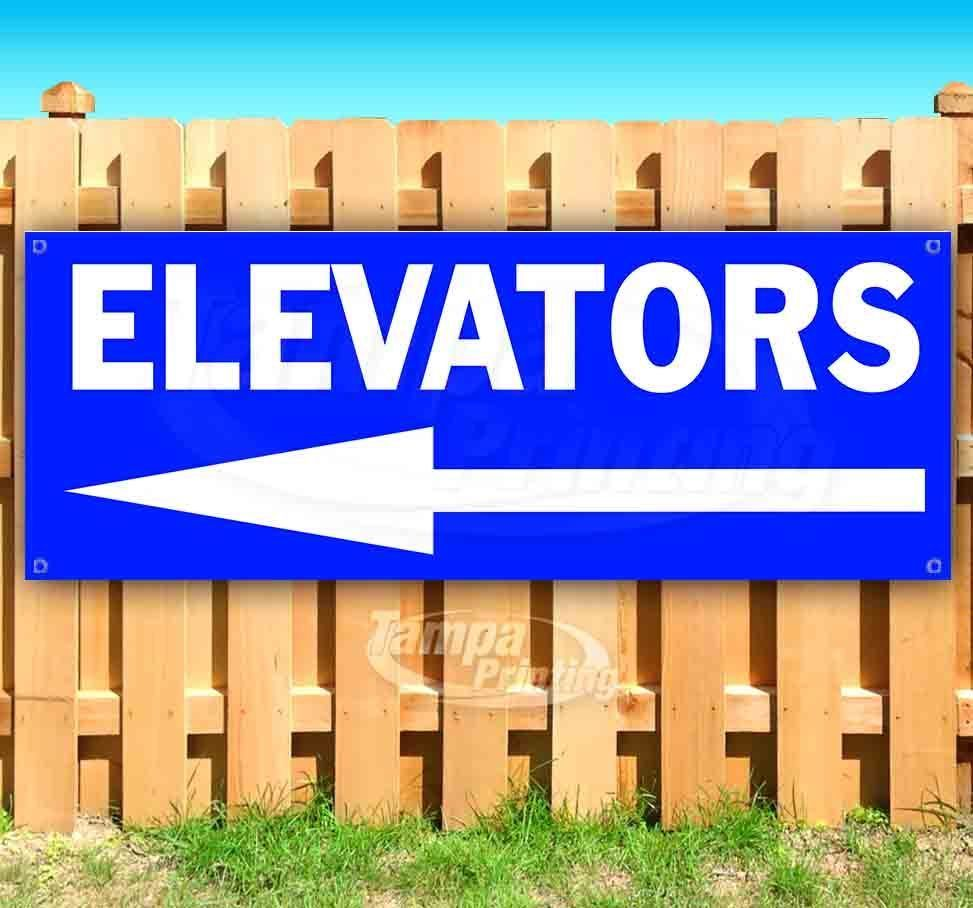 Primary image for ELEVATORS LEFT BLUE Advertising Vinyl Banner Flag Sign Many Sizes DIRECTIONAL