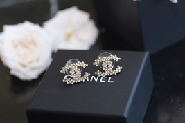 Authentic Chanel 2019 Classic CC Logo Crystal Gold Stud Earrings  image 1