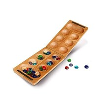 WE Games Folding Mancala - Solid Wood Board & Glass Stones 18 inches - $24.47