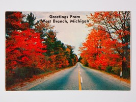 FREE SHIP: Vintage Mid Century Postcard - Greetings from West Branch, Mi... - $3.00