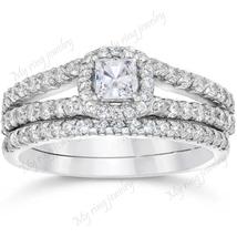 White Diamond Emerald Shape Princess Cut 925 Silver 14k white Gold Plated - $110.00