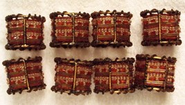 Pier One Napkin Ring Holders 8 Moroccan Red Beaded Wires Christmas Holid... - $23.75