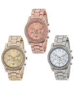 Round Rhinestone Bar Number Women Watches Rose Gold Valentine Gift Wrist... - $7.99