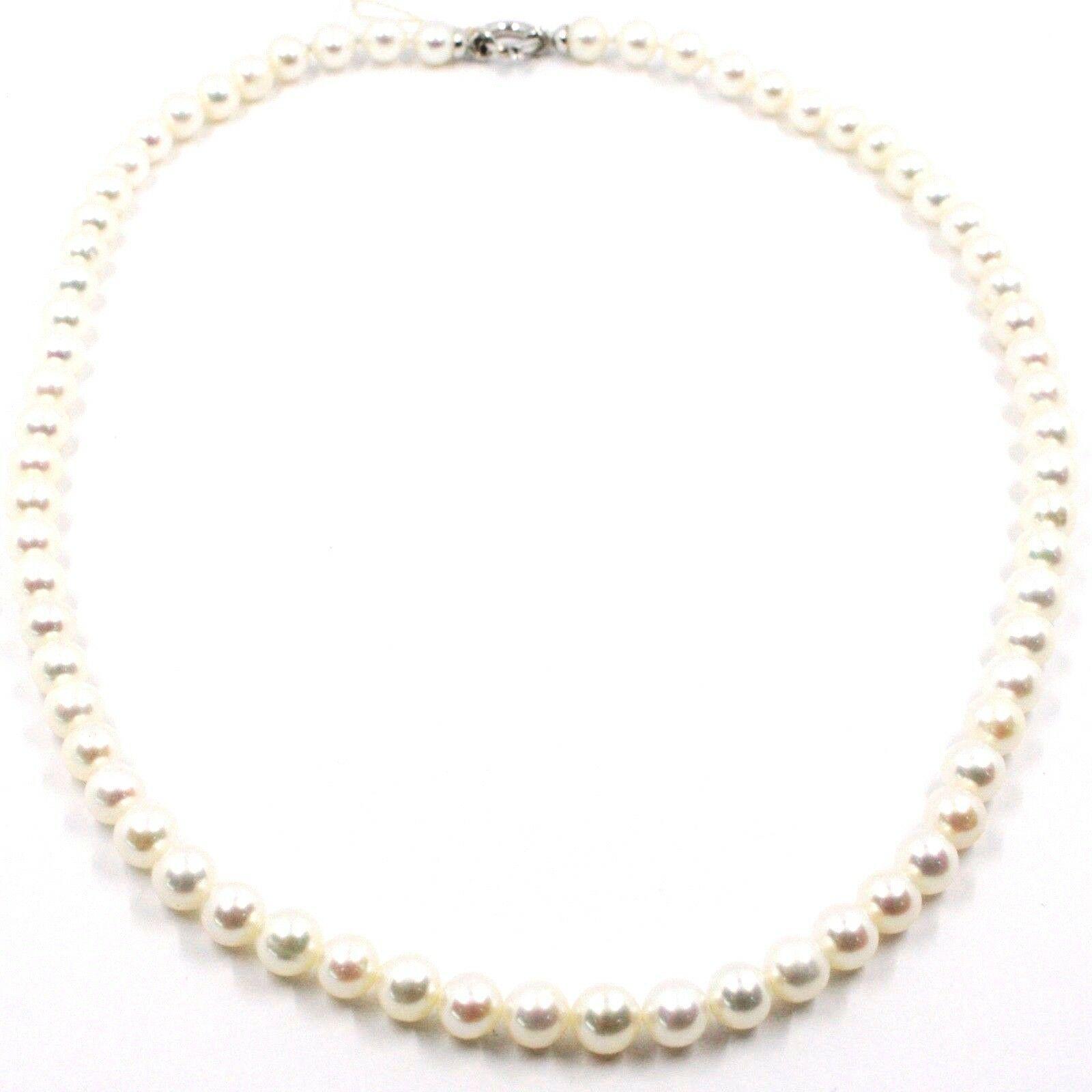 Collier, Fermoir or Blanc 18K, Perles Blanches 6-6.5 mm, 42 49 55 CM