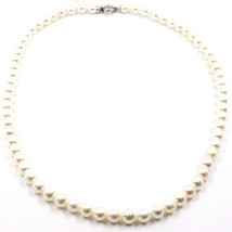 Collier, Fermoir or Blanc 18K, Perles Blanches 6-6.5 mm, 42 49 55 CM image 1
