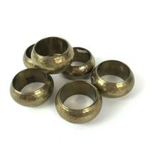 Hammered Brass Napkin Rings Holders Set of 6 Vaishali India Mod wedding ... - $19.77