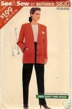 Butterick 5820 Misses' Jacket & Pants - $3.99