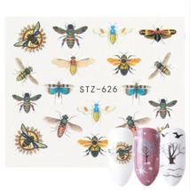 HS Store - 1 Sheets STZ-626 Colorful Purple Fantacy Flowers Nail Stickers - $1.34