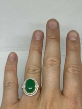 Vintage Green Jade Ring gold Finish White Sapphire Size 8.75 - $94.05