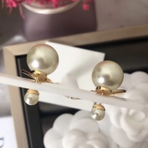 Authentic Christian Dior 2019 Tribales Double Pearl Dangle Drop Long EARRINGS image 13
