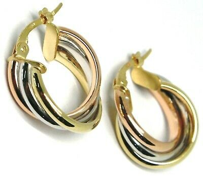 Earrings Circle White Gold, Pink, Yellow 750 18K, Twisted, 3 Tubes, 1.6 CM