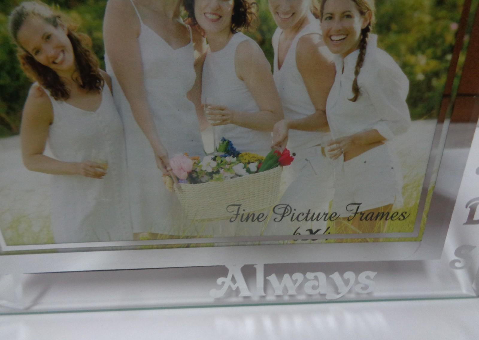 FRIENDS ALWAYS Etched Glass Photo Frame NWT 6 x 4 Photo