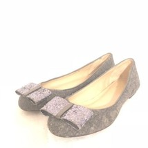 KATE SPADE Wool Grey Flats with Glitter Bow Sz. 6 - $56.05