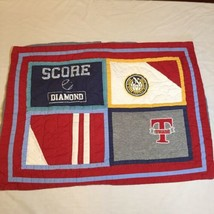 """Standard Pillow Sham Pottery Barn Kid's Varsity Sports Quilted 20"""" x 26"""" Flawed - $19.34"""