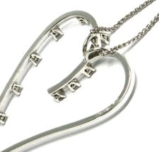 18K WHITE GOLD NECKLACE, BIG HEART PENDANT, 0.44 CARATS DIAMONDS, EAR CHAIN image 5