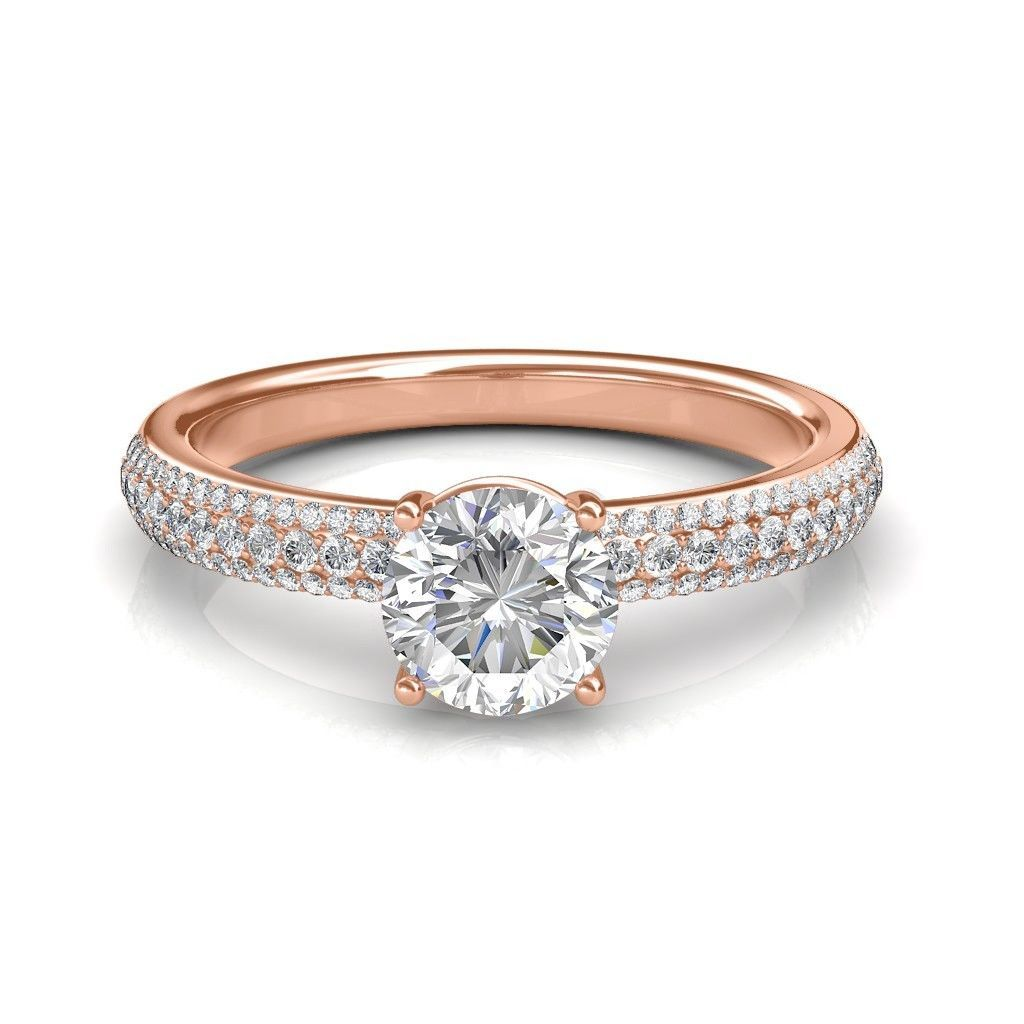 14K Rose Gold 1.05 Carat Round Cut Diamond Engagement Ring