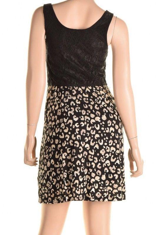 Kensie Black Contrast Lace Top Cheetah Print Skirt Sleeveless Dress S image 4